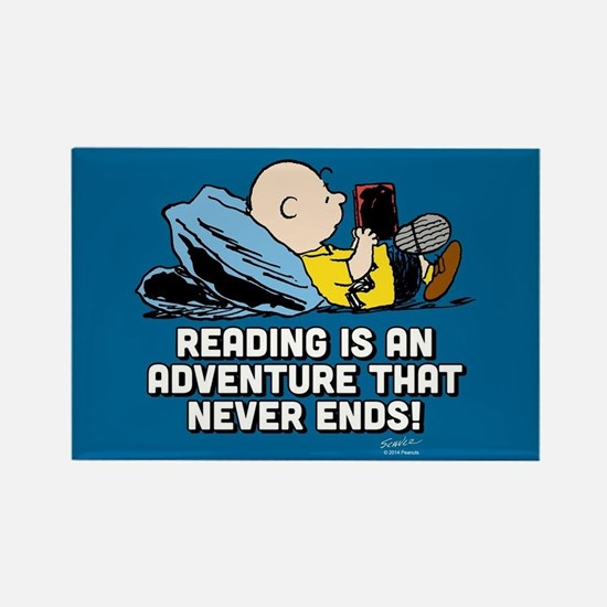 Charlie Brown - Reading is an Adv Rectangle Magnet
