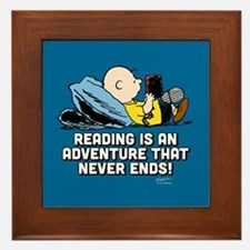 Charlie Brown - Reading is an Adventur Framed Tile
