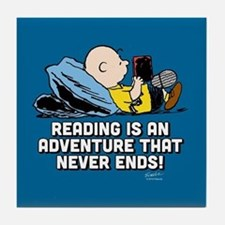 Charlie Brown - Reading is an Adventu Tile Coaster