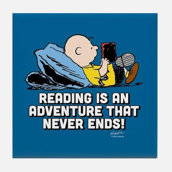 Charlie Brown - Reading is an Adventu Tile Coaster