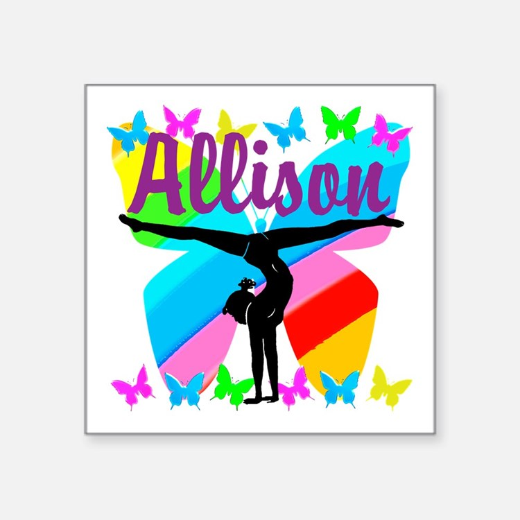 "PERSONALIZE GYMNAST Square Sticker 3"" x 3"""