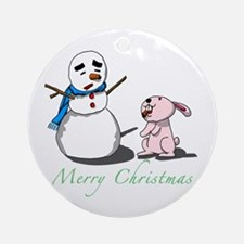 Snowman and Bunny Ornament (Round)