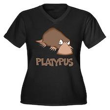 Platypus Women's Plus Size V-Neck Dark T-Shirt