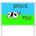 Peace Moo Cow Yard Sign