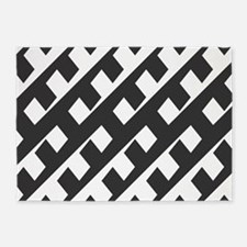 Black and White Pattern 5'x7'Area Rug
