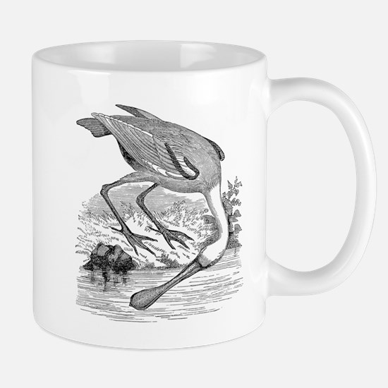Vintage Spoonbill Tropical Bird Black White Mugs