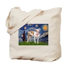 Starry Night Pitbull Tote Bag