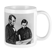 Lincoln Reading to Son Tod Small Mug