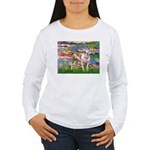Lilies & Pitbull Women's Long Sleeve T-Shirt