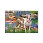 Lilies & Pitbull Rectangle Magnet