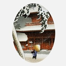 SNOW_japanese wood block print Oval Ornament