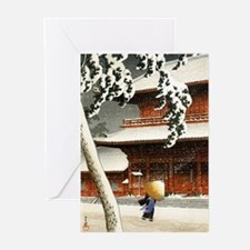 SNOW_japanese wood block print Greeting Cards