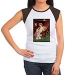 Seated Angel / Pitbull Women's Cap Sleeve T-Shirt