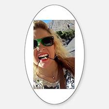 American Blonde Woman Smart Us Girl Sticker (oval)