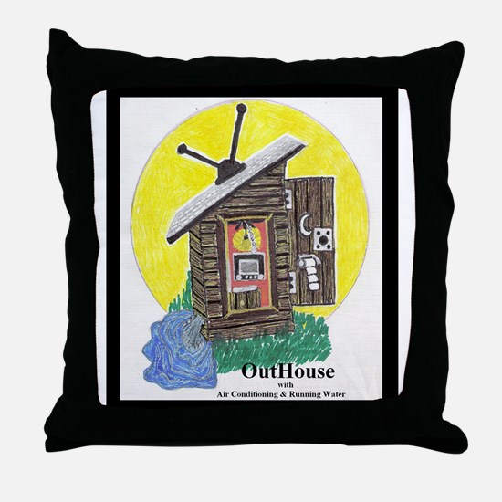 Outhouse/Air/Running Water Throw Pillow