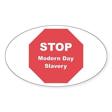 STOP Modern Day Slavery Oval Sticker