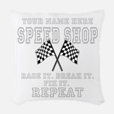 Racing Speed Shop Woven Throw Pillow