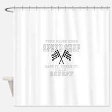 Racing Speed Shop Shower Curtain