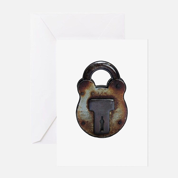 old rusty Padlock Greeting Cards