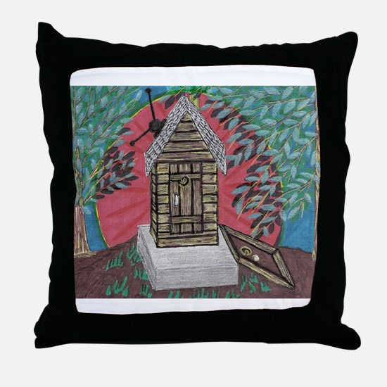 Outhouse/with full basement Throw Pillow