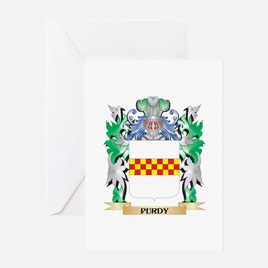 Purdy Coat of Arms - Family Crest Greeting Cards