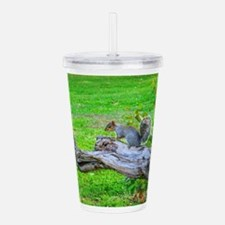 Squirrel on a branch - Acrylic Double-wall Tumbler