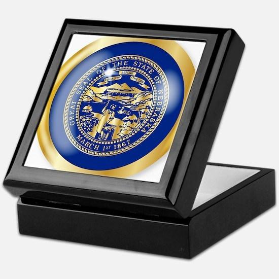 Nebraska Flag Button Keepsake Box