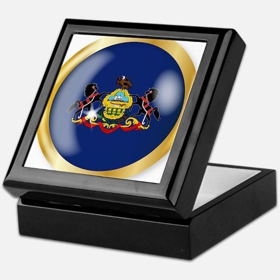 Pennsylvania Flag Button Keepsake Box