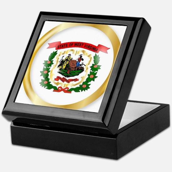 West Virginia Flag Button Keepsake Box