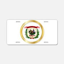 West Virginia Flag Button Aluminum License Plate