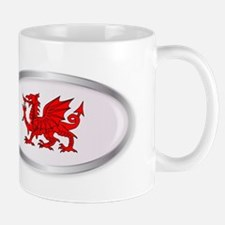 Welsh Dragon Oval Button Mugs
