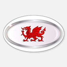 Welsh Dragon Oval Button Decal