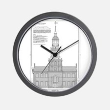 Independence Hall Blueprint Schematics Wall Clock