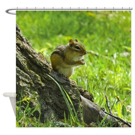 Cute Chipmunk Shower Curtain By Naturewildlifeartgifts