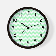 Mint Green and White Chevron Wall Clock