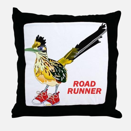 Road Runner in Sneakers Throw Pillow