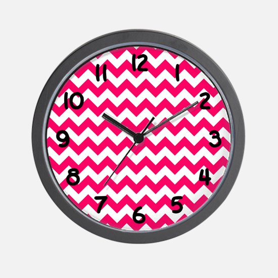 Bright Pink Chevron Wall Clock
