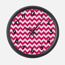 Bright Pink Chevron Large Wall Clock