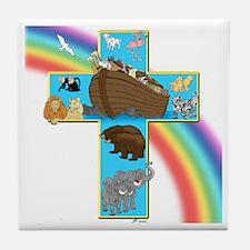 Blue Noah's Cross Tile Coaster