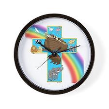 Blue Noah's Cross Wall Clock