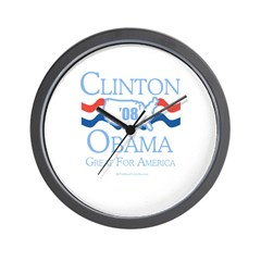 Clinton / Obama 2008: Great for America Wall Clock