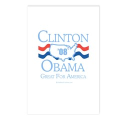 Clinton / Obama 2008: Great for America Postcards