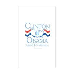 Clinton / Obama 2008: Great for America Decal