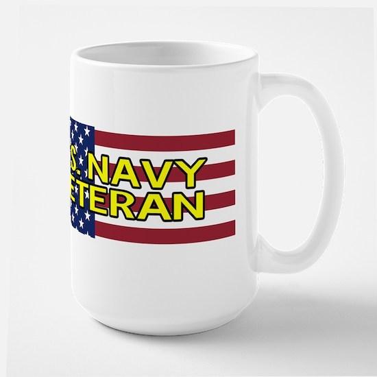 U.S. Navy: Veteran (American Flag) Large Mug