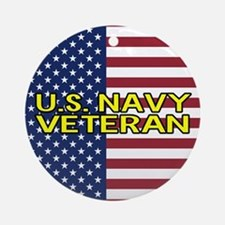 U.S. Navy: Veteran (American Flag) Round Ornament