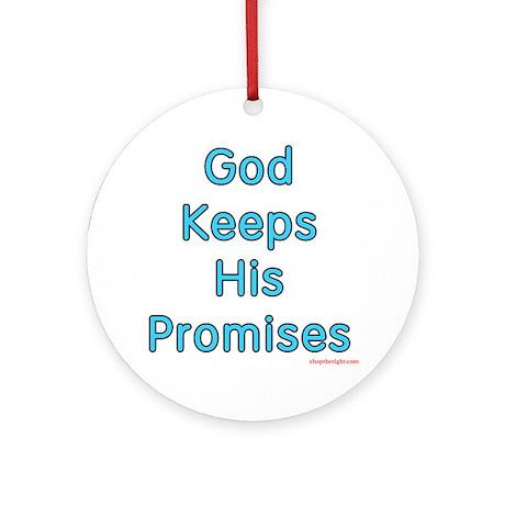 "Blue ""God Keeps"" Keepsake Round Ornament"