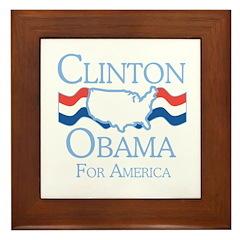 Clinton and Obama for America Framed Tile