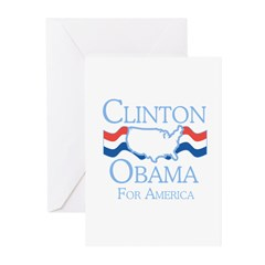 Clinton and Obama for America Greeting Cards (Pk o