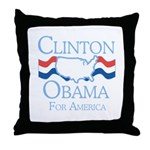 Clinton and Obama for America Throw Pillow