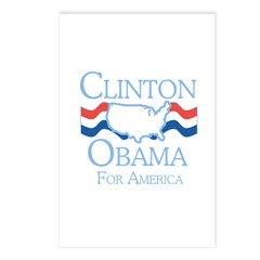 Clinton and Obama for America Postcards (Package o